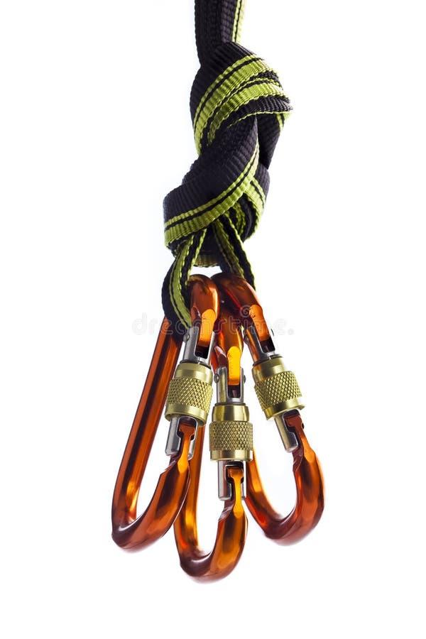 веревочка carabiners стоковое изображение