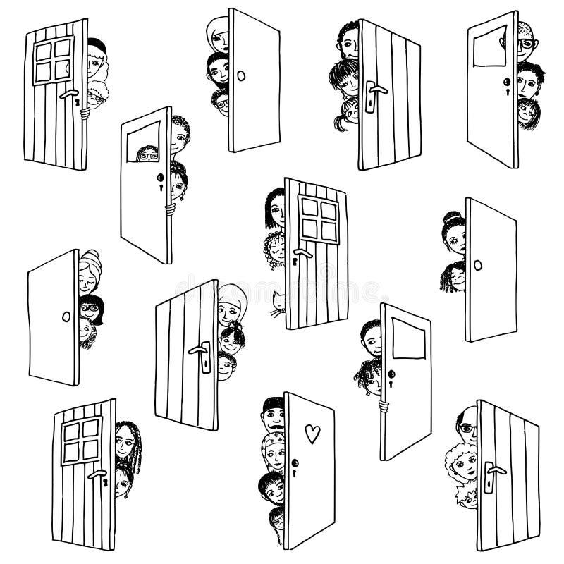 двери раскрывают иллюстрация штока