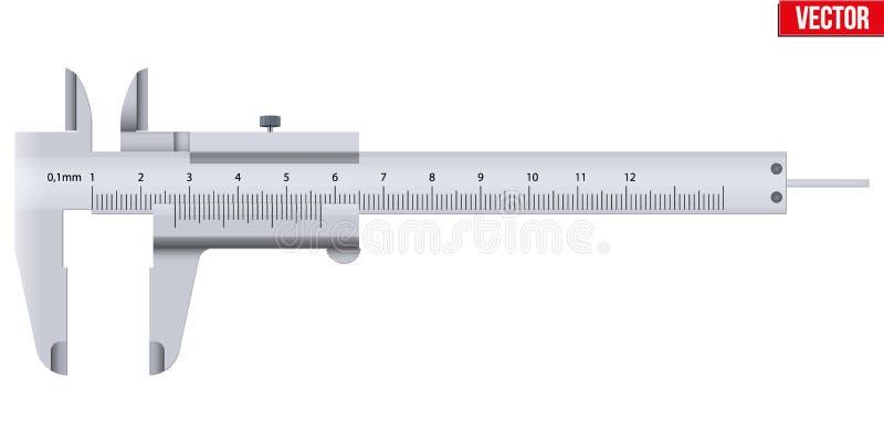 Верньерный крумциркуль и масштаб иллюстрация вектора