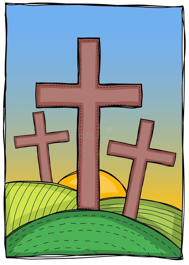 Вероисповедание - христианские кресты иллюстрация штока