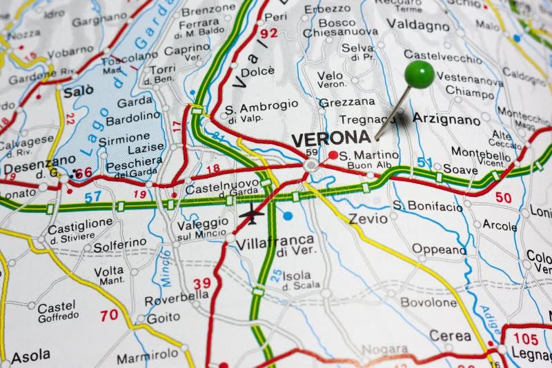 Верона Италия на карте стоковые фотографии rf