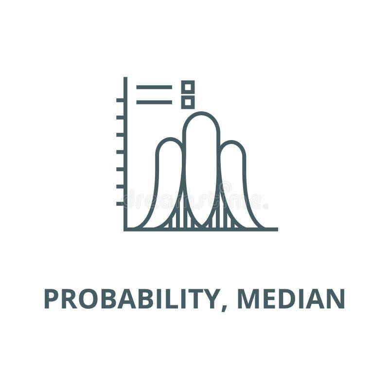 Вероятность, медианная линия значок вектора, линейная концепция, знак плана, символ иллюстрация штока