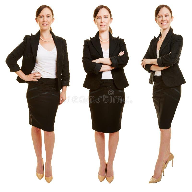 3 версии усмехаясь бизнес-леди стоковая фотография