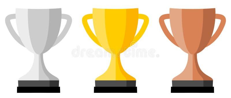 Версия значка, серебра, золота и бронзы чашки трофея иллюстрация штока