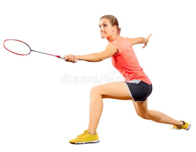Версия игрока бадминтона молодой женщины без shuttlecock стоковое фото