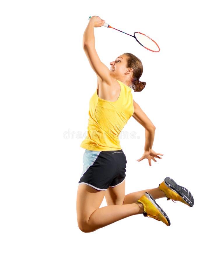 Версия игрока бадминтона молодой женщины без shuttlecock стоковые изображения