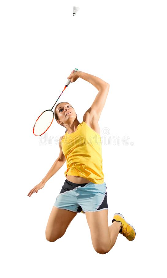 Версия игрока бадминтона молодой женщины с shuttlecock стоковое изображение