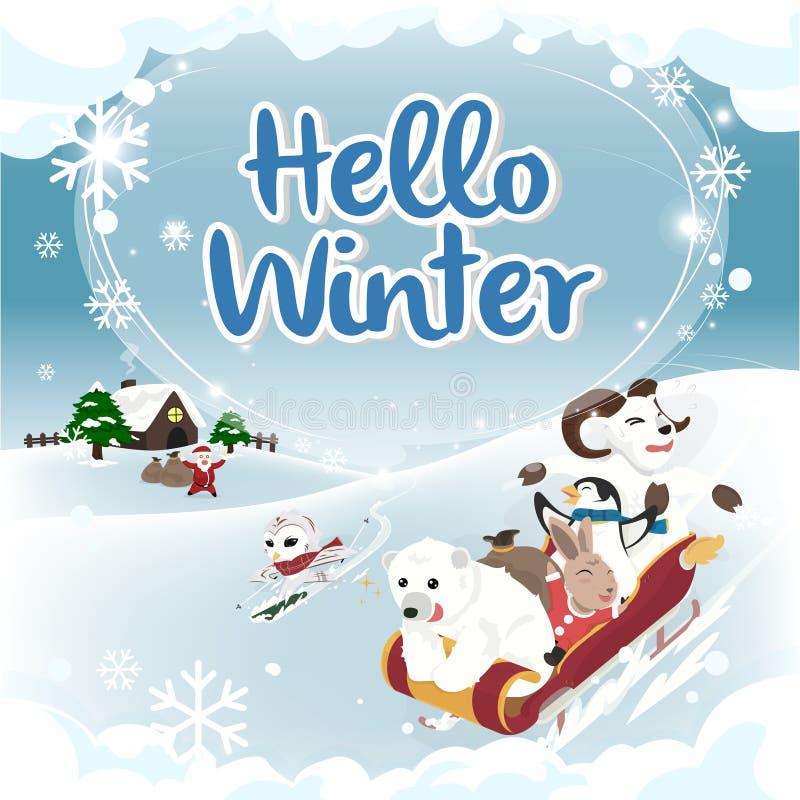 Версия квадрата карточки зимы приветствию зимы здравствуйте! стоковые изображения rf