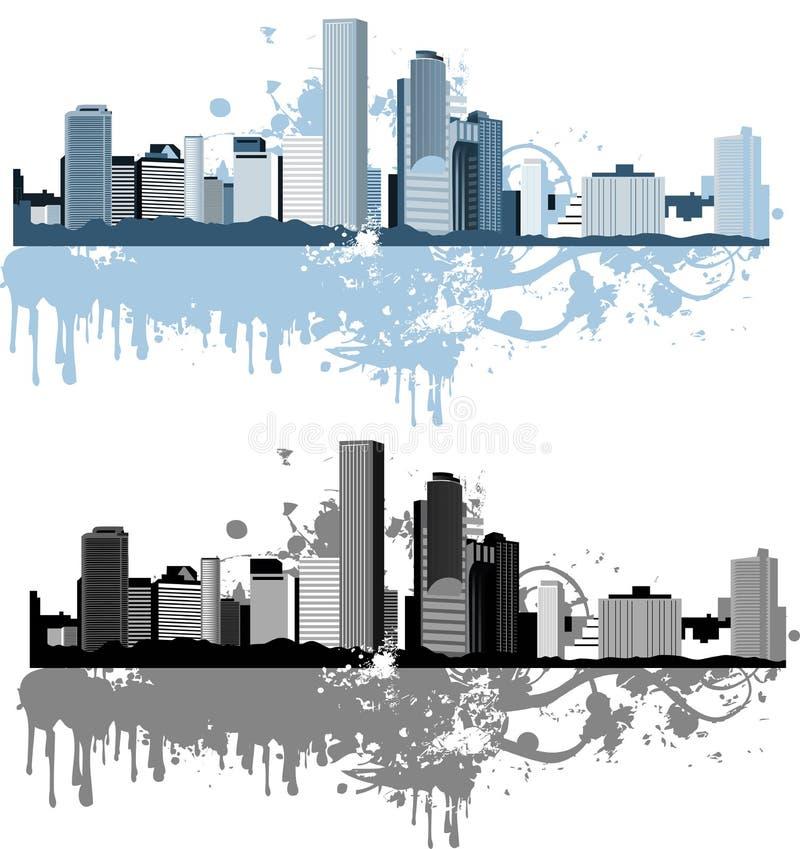версия панорамы света grunge цвета города бесплатная иллюстрация
