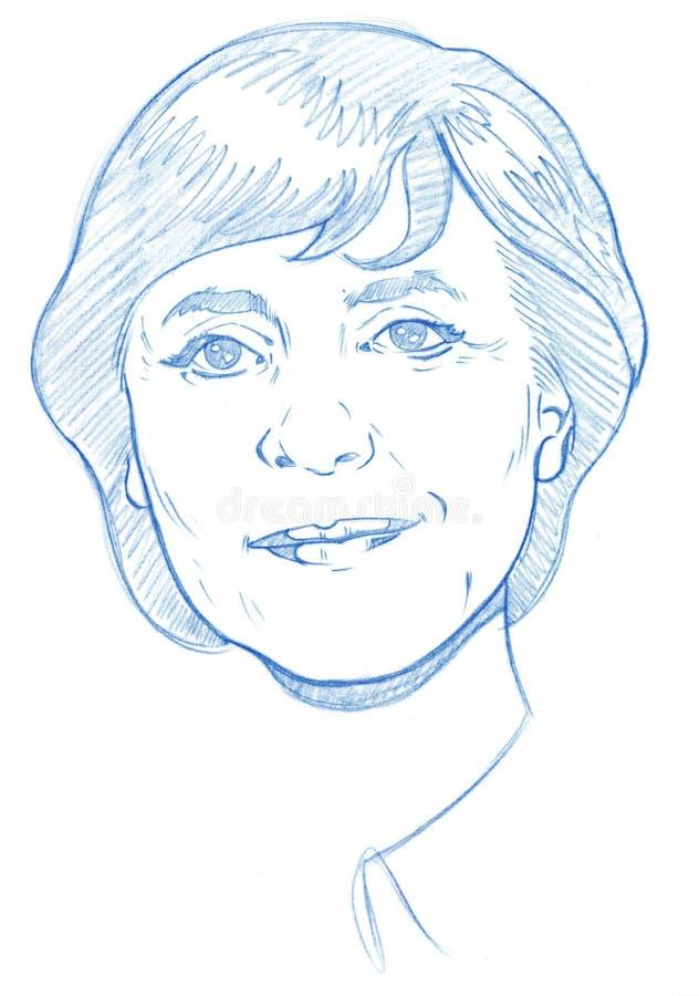 версия портрета карандаша merkel Анжелы иллюстрация вектора