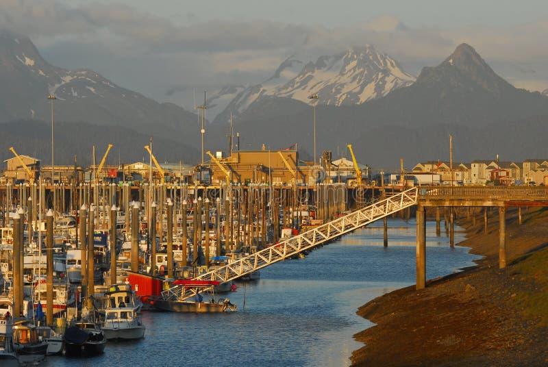вертел Марины пробежки домой шлюпки Аляски малый стоковые фото