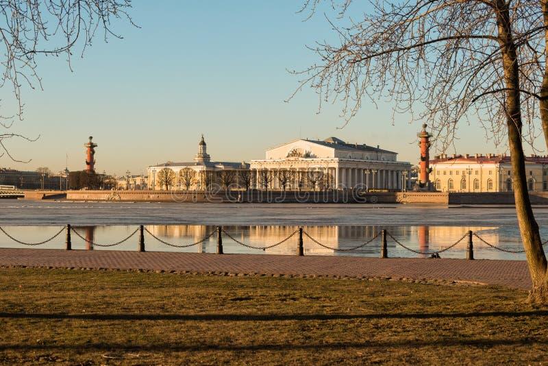 Вертел острова Vasilievsky, Санкт-Петербурга стоковые изображения