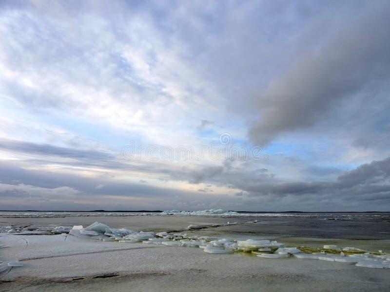 Вертел Curonian в льде зимы, Литве стоковое фото