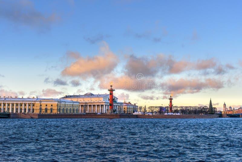 Вертел Strelka острова Vasilyevsky с Rostral столбцами святой petersburg России моста okhtinsky стоковая фотография rf