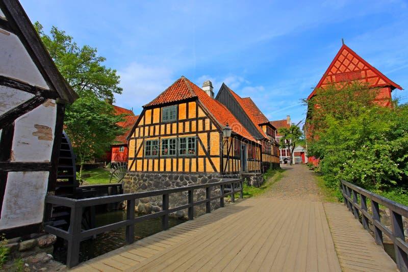 Вертеп Gamle - старый городок Орхуса, Дании стоковая фотография
