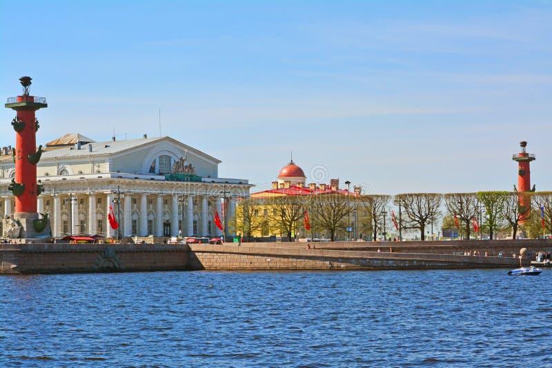 Вертел острова Vasilevsky и Rostral столбцов в Санкт-Петербурге, России стоковое фото rf