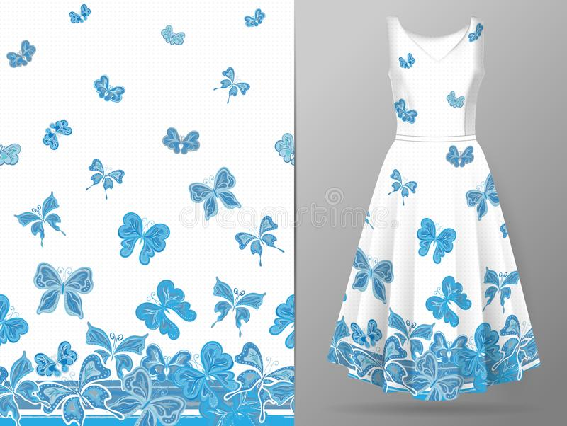 Вертикальная безшовная картина с бабочкой притяжки руки на модель-макете платья вектор бесплатная иллюстрация