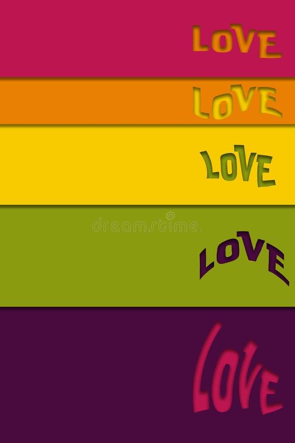 Вертикальная пестротканая предпосылка с cutted словом, бумажным отрезанным влиянием любов иллюстрация штока