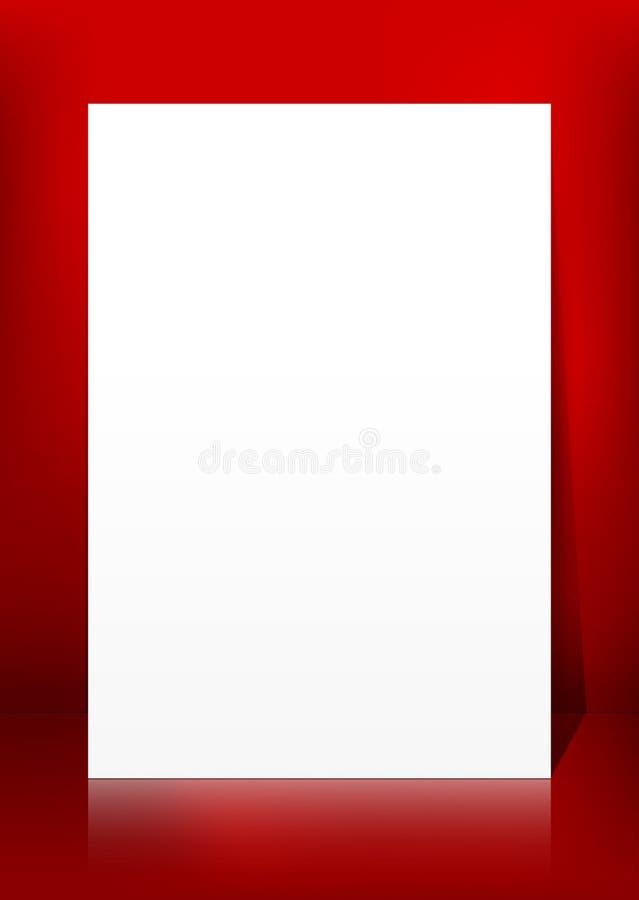 Вертикальная пустая белая панель бумаги вектора на красном шаблоне предпосылки иллюстрация штока