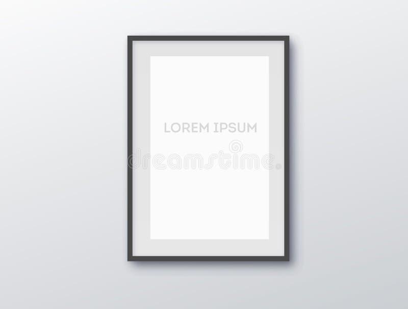 A3, вертикальная пустая картинная рамка A4 для фотоснимок Бумага realisitc вектора или пластиковая белая изображени-обрамляя цино иллюстрация штока
