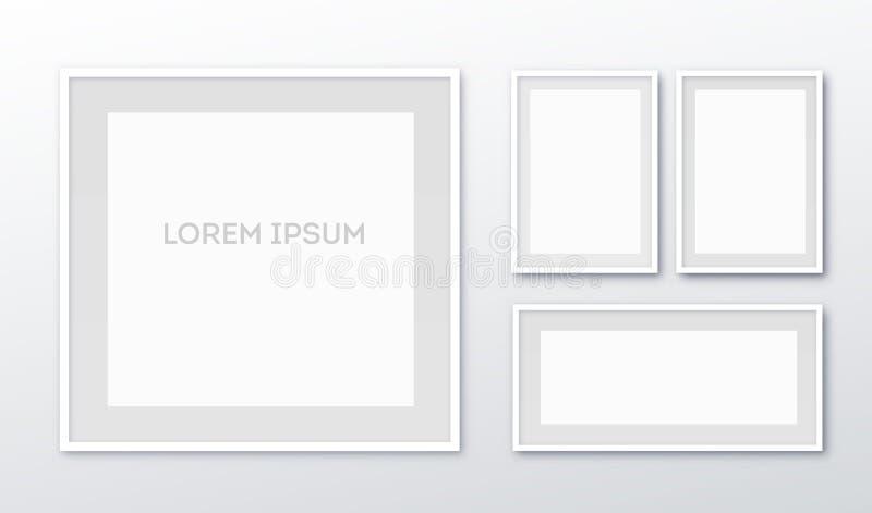 A3, вертикальная пустая картинная рамка A4 для фотоснимок Бумага realisitc вектора или пластиковая белая изображени-обрамляя цино иллюстрация вектора