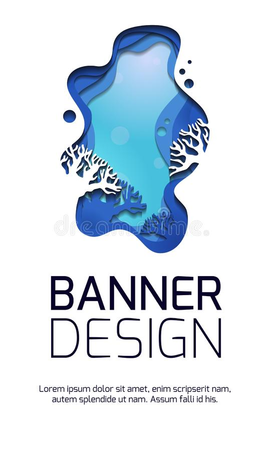 Вертикальное знамя с иллюстрацией 3d морского ландшафта с рифами, отрезка из бумаги Наслоенная сцена моря с местом для текста иллюстрация штока