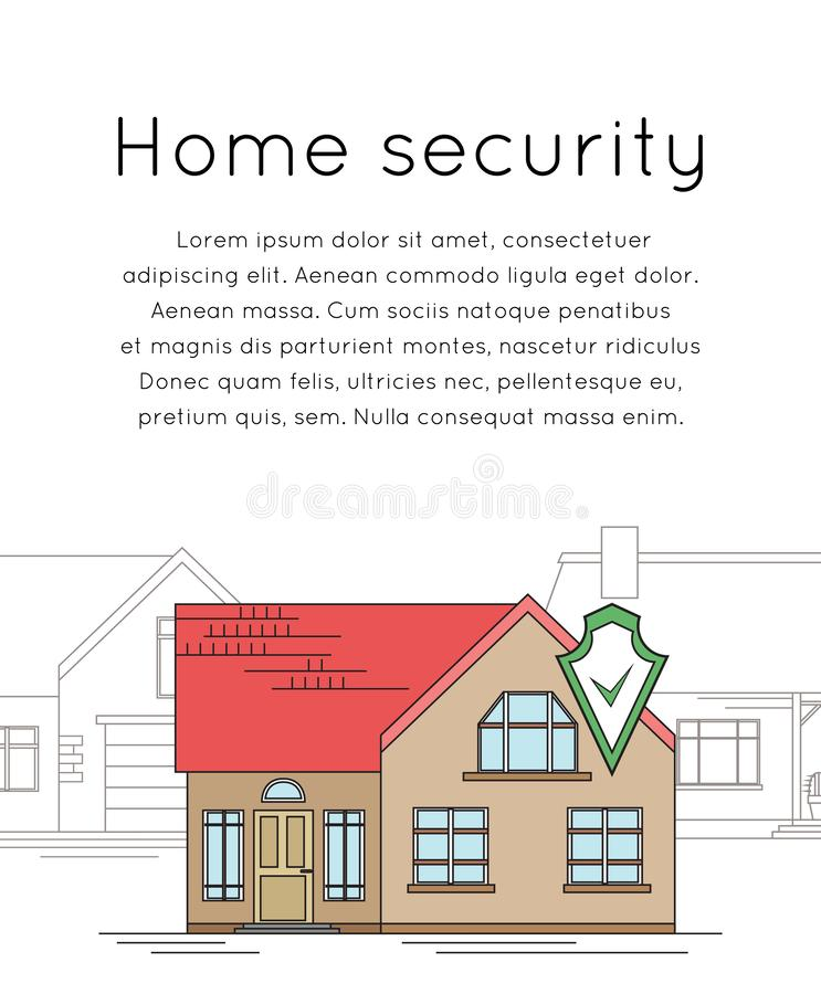 Вертикальное знамя с чертежом плана дома с экраном безопасностью Умный дом с сигналом тревоги на предпосылке обычных домов _ бесплатная иллюстрация