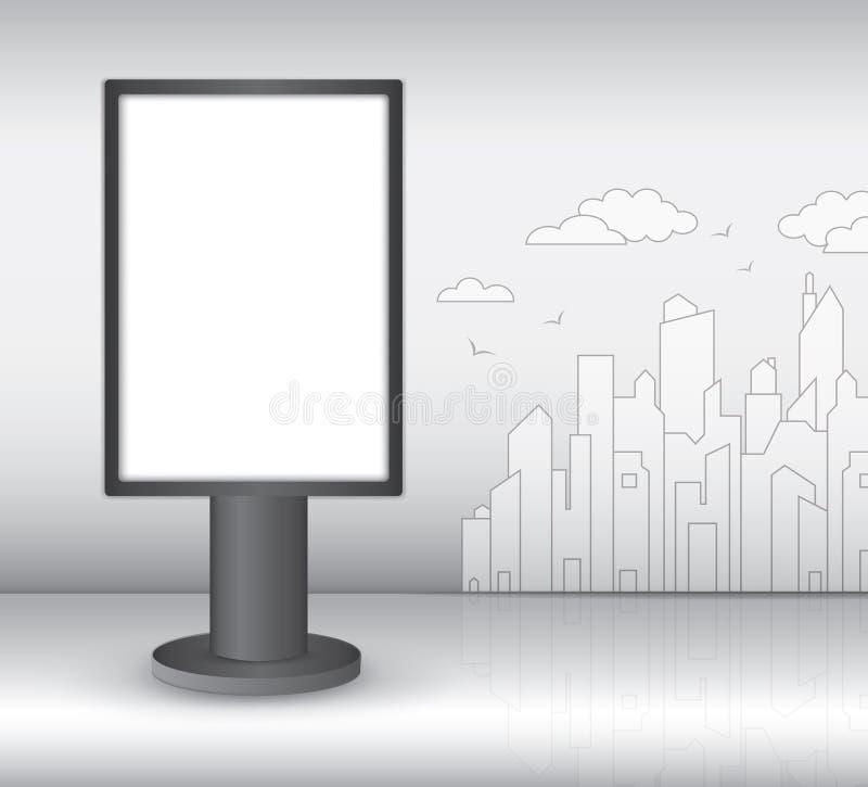 Вертикальное пустое внешнее Lightbox, реалистическая конструкция 3d для внешней рекламы на предпосылке города бесплатная иллюстрация