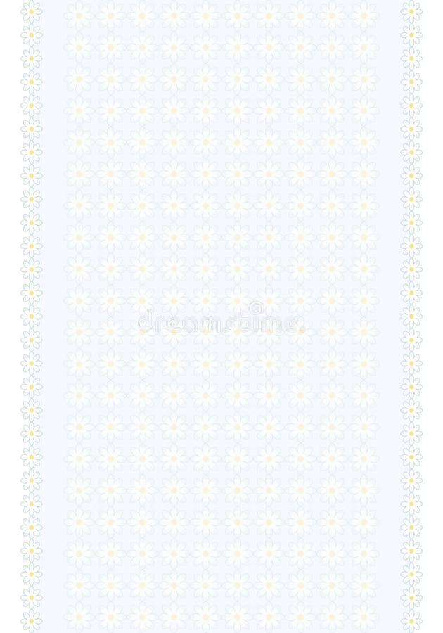 Вертикальное светлое полотенце нашивки с маргаритками цветков делает по образцу флористический свет - синь с белыми цветками с же бесплатная иллюстрация