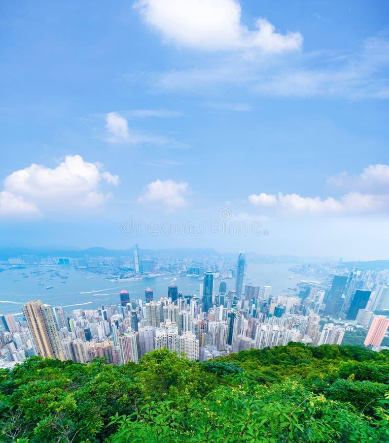 Вертикальное фото стиля делового района Гонконга во времени дня во время взгляда лета от пика Виктория стоковое изображение