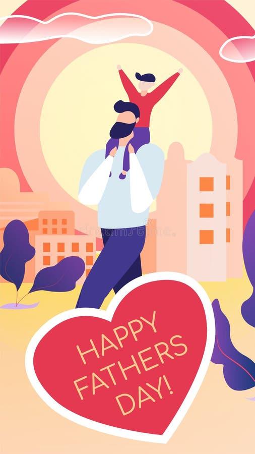 Вертикальной плоской написанный открыткой счастливый день отцов иллюстрация штока
