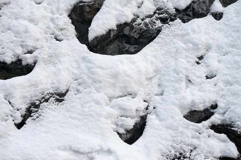 Вертикальный наклон горы при утесы покрытые с свежим снегом - текстура предпосылки стоковая фотография rf