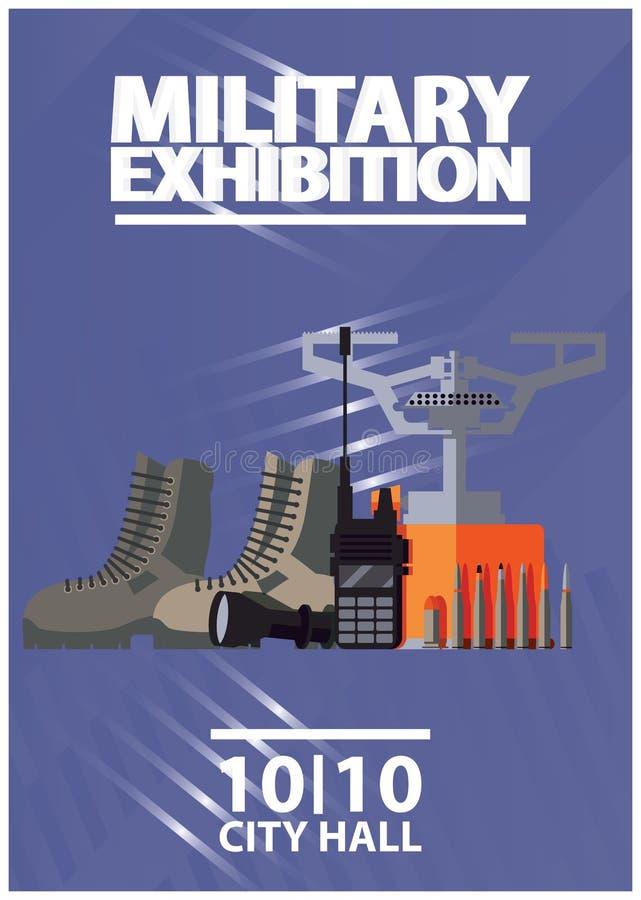 Вертикальный плакат для воинской выставки экспо или армии Товары и поставки ратника солдата для выживания и военной операции бесплатная иллюстрация