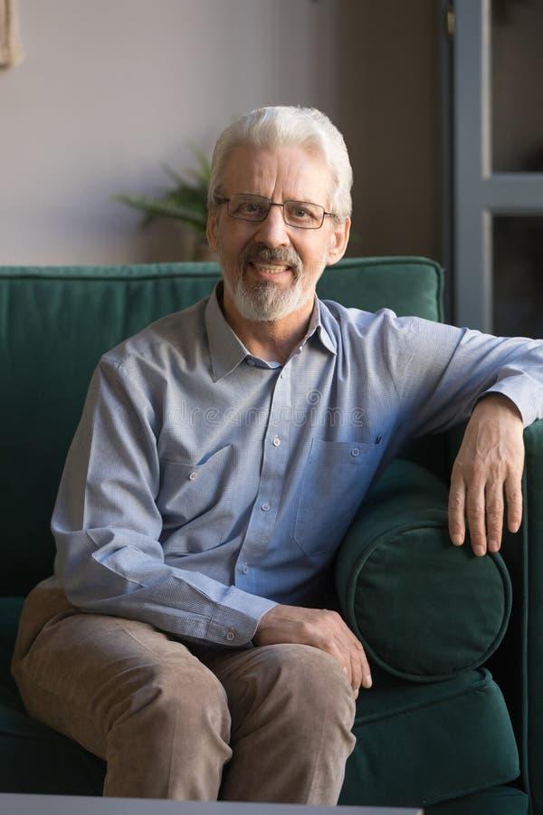 Вертикальный портрет серого с волосами зрелого человека сидя на кресле стоковое фото rf