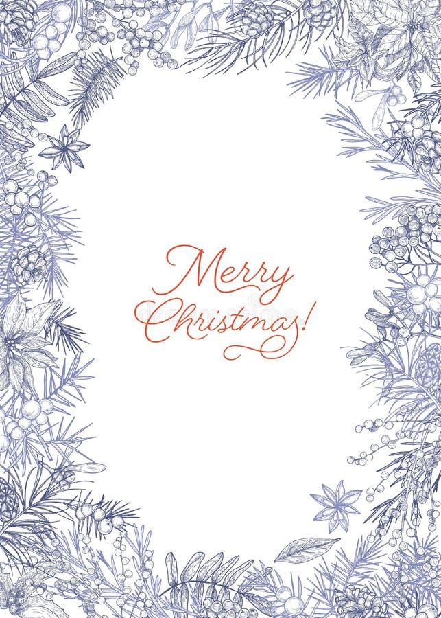 Вертикальный шаблон открытки рождества украшенный рамкой сделанной ветвей и конусов хвой, ягод и листьев  иллюстрация вектора