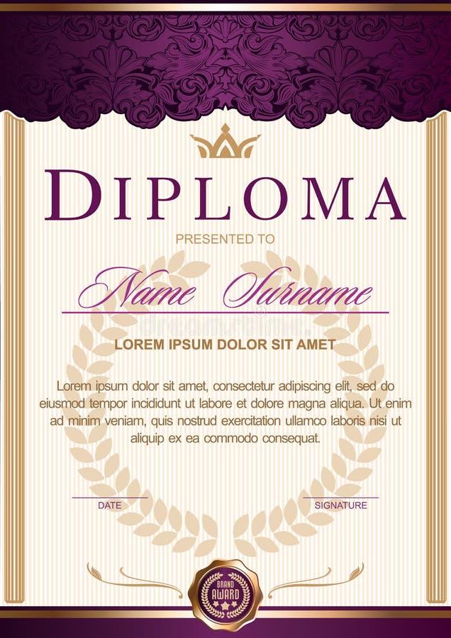 Вертикаль в королевском годе сбора винограда стиля, рококо диплома, барокк, очарование Темный пурпур с цветом золота бесплатная иллюстрация