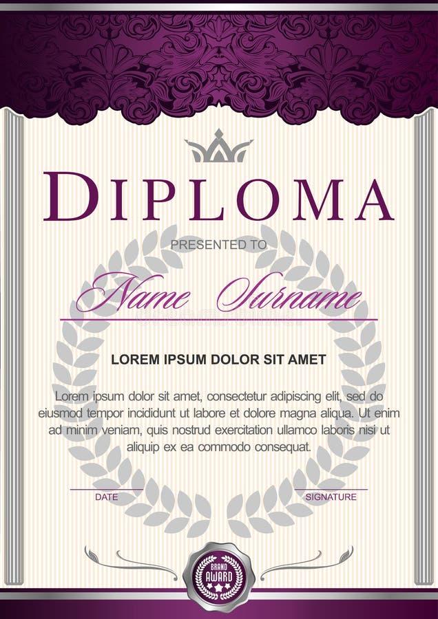 Вертикаль в королевском годе сбора винограда стиля, рококо диплома, барокк, очарование Темный пурпур с серебряным цветом бесплатная иллюстрация