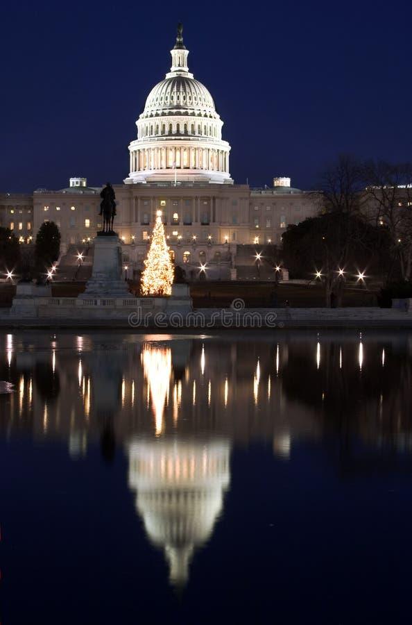 Download вертикаль отражения ночи капитолия Стоковое Изображение - изображение насчитывающей правительство, темно: 480599