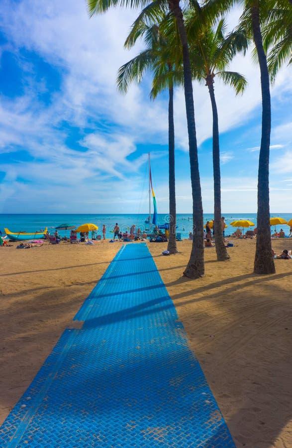 Вертикаль пляжа Waikiki с голубой дорожкой циновки стоковая фотография rf