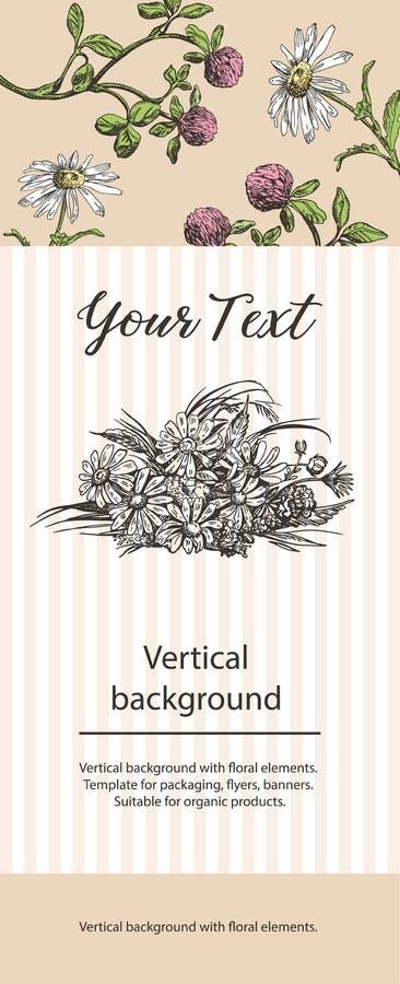Вертикаль, предпосылка с флористическими элементами Соответствующий для дизайна органических продуктов иллюстрация вектора