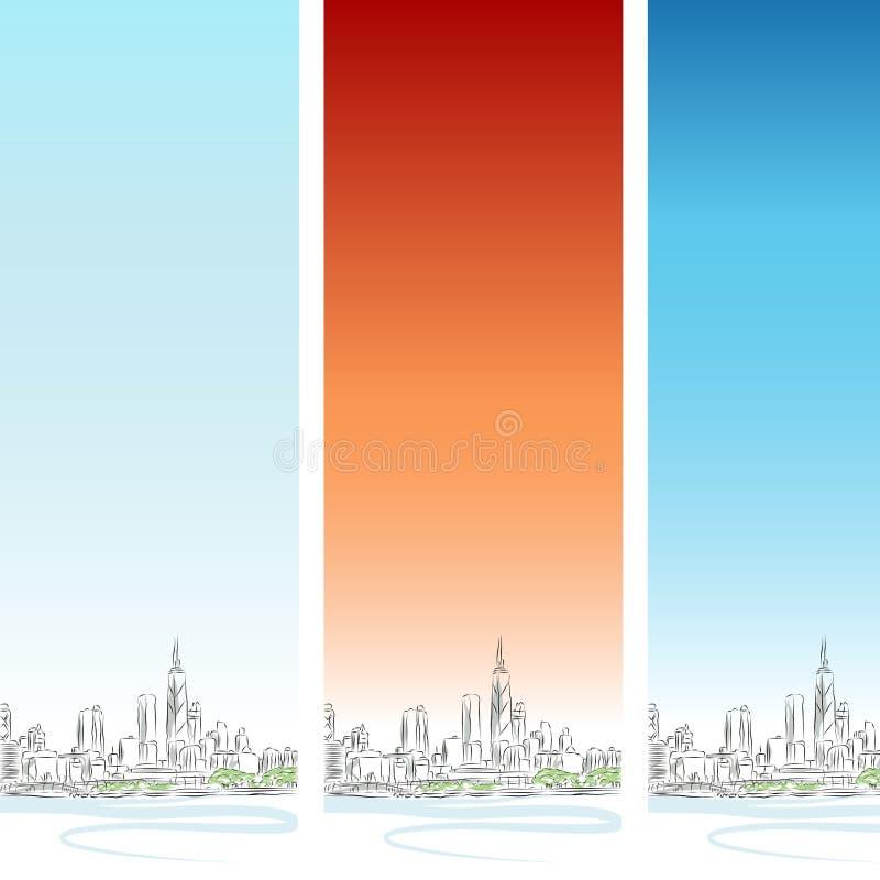 вертикаль chicago знамени установленная иллюстрация штока