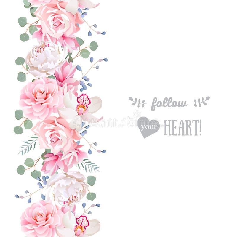 Вертикальная безшовная линия гирлянда с камелией, подняла, пион, листья eucaliptus и орхидея иллюстрация штока