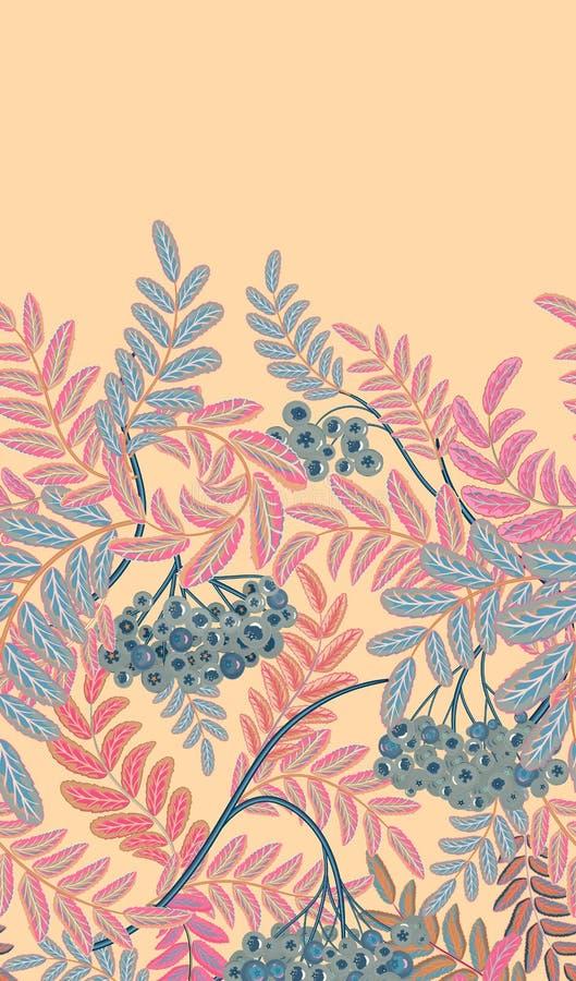 Вертикальная безшовная предпосылка с красными ягодами и ветвями зрелой рябины иллюстратор иллюстрации руки чертежа угля щетки нар иллюстрация штока