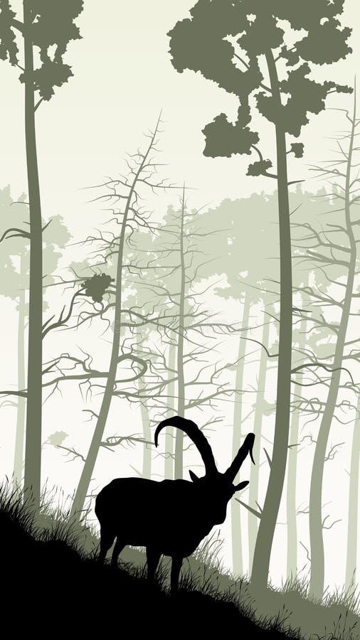 Вертикальная иллюстрация козы на травянистом горном склоне бесплатная иллюстрация