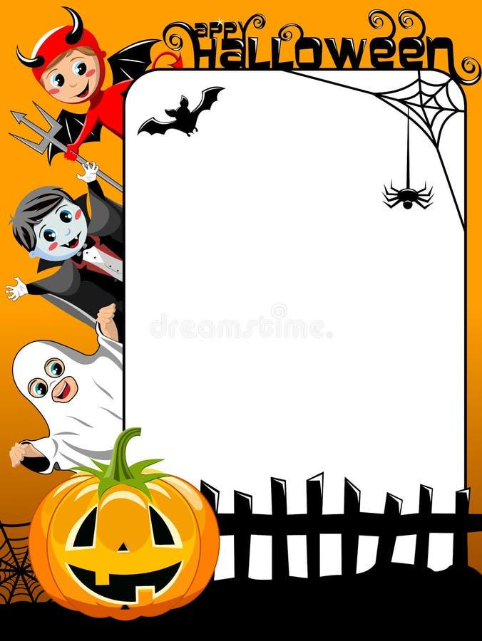 Вертикальные дети рамки хеллоуина в костюме иллюстрация штока