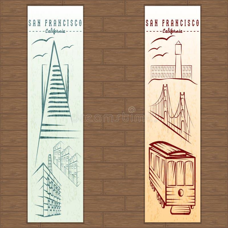 вертикальные знамена на теме Сан-Франциско иллюстрация штока