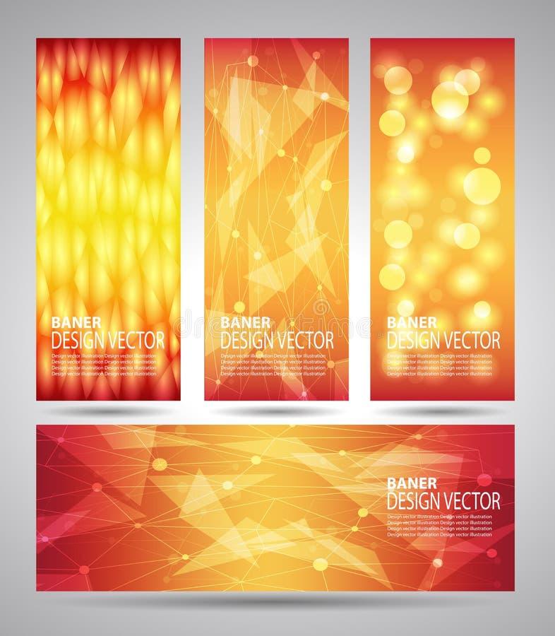Вертикальные знамена установленные с полигональными абстрактными формами бесплатная иллюстрация