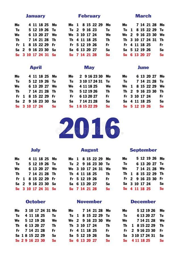 Вертикальный простой календарь на 2016 иллюстрация вектора