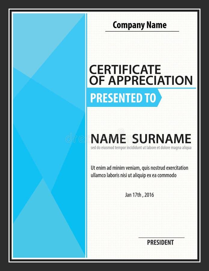 Вертикальный шаблон сертификата, диплом, размер письма, вектор иллюстрация вектора