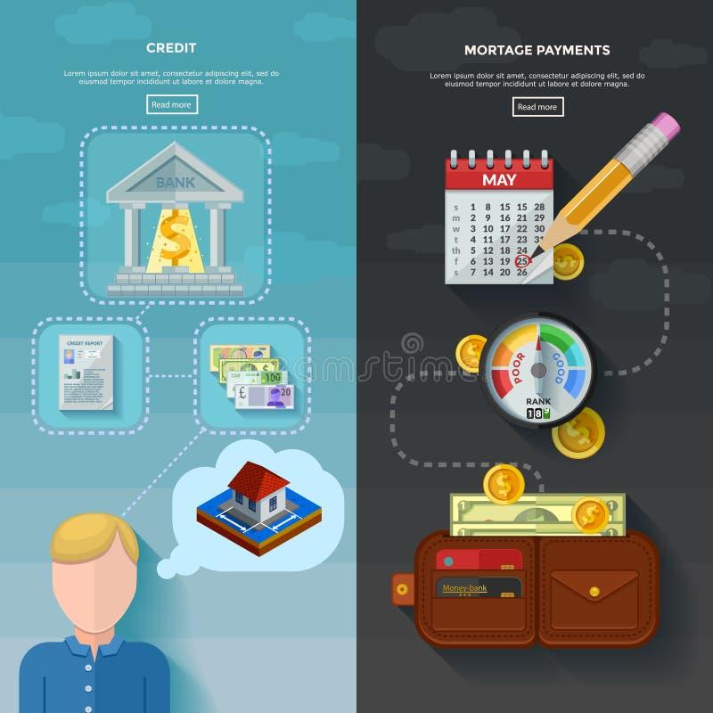 2 вертикальных знамени оценки кредитоспособности иллюстрация штока
